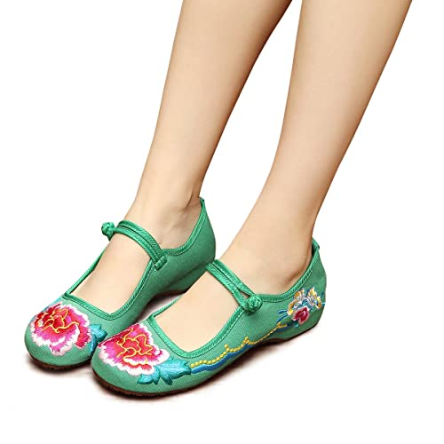 015b922f881f5 Veowalk Floral Embroidery Women's Canvas Shoes Mary Jane Buckle Comfort  Cotton Cloth Costume Flat Ballets