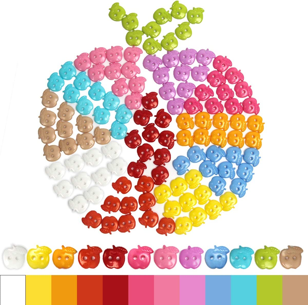 Sewing Buttons for DIY, Luxiv 120 Pcs 12 Colors Buttons Apple Shape Craft Buttons DIY Handmade for Button Painting Sewing Cloth Resin Assorted Colored Apple Buttons(120 Pack)