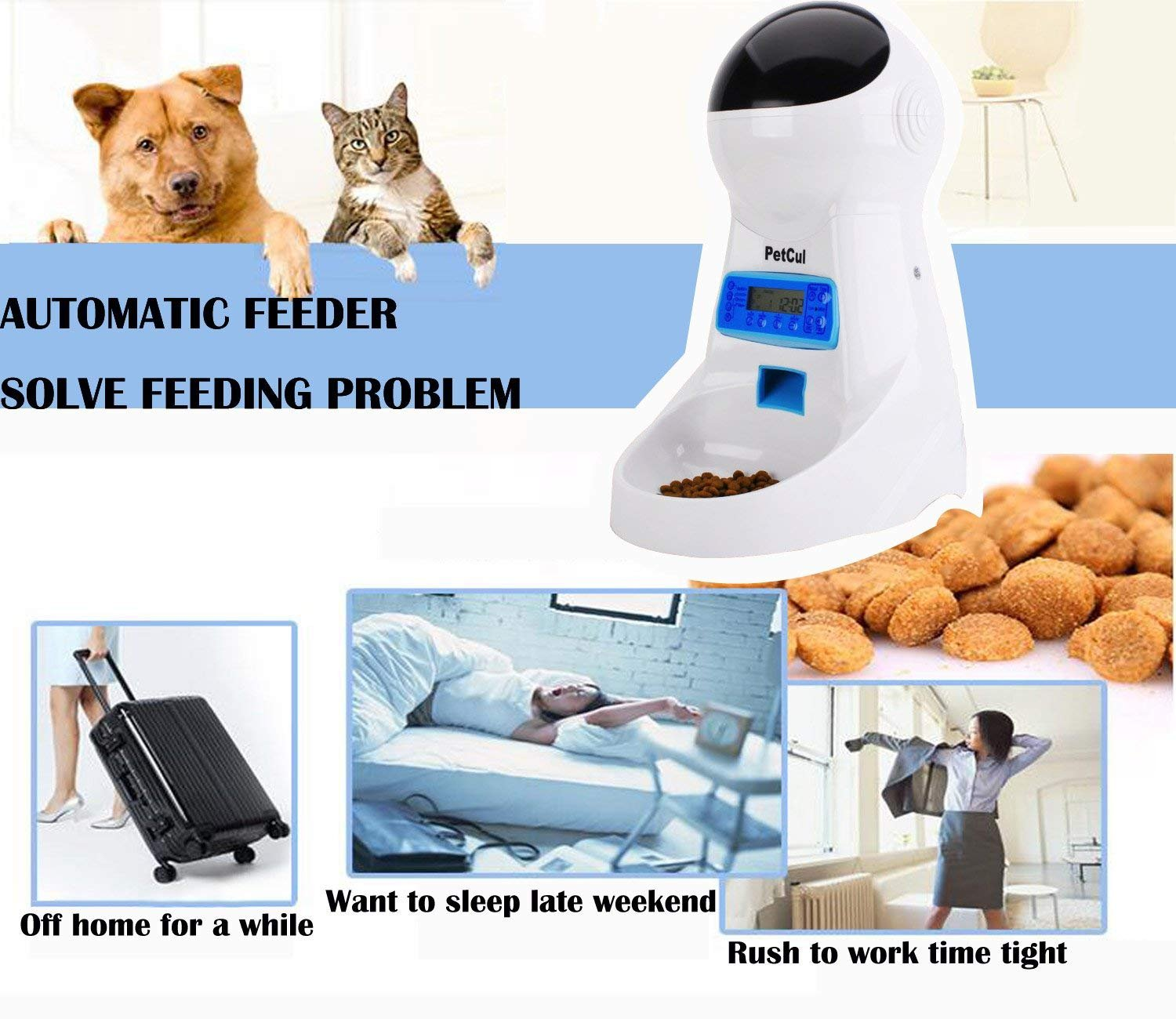 PetCul Automatic Cat Feeder 3L Pet Food Dispenser Feeder for Medium & Large Cat Dog——4 Meal, Voice Recorder & Timer Programmable, Portion Control 5
