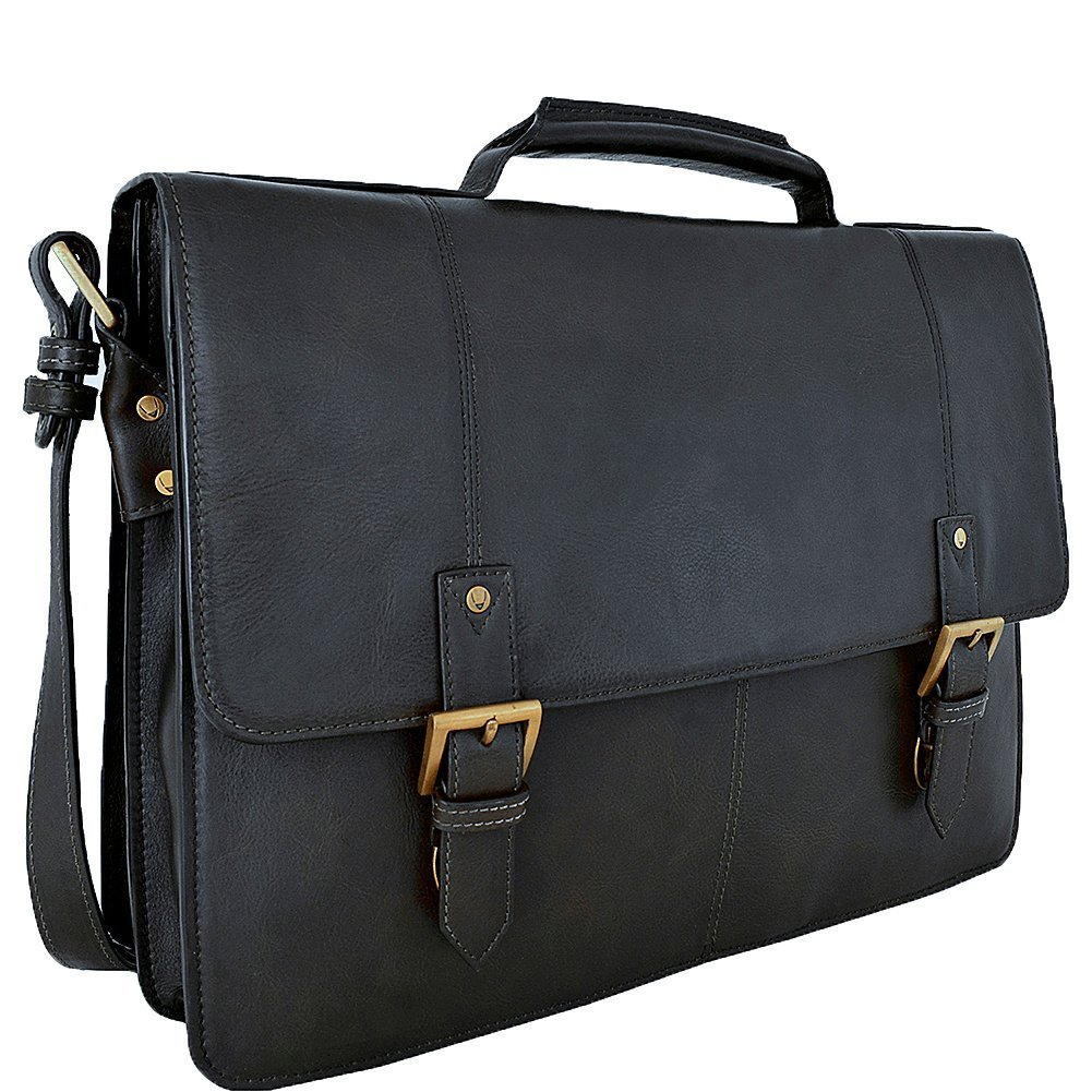 HIDESIGN Charles Large Double Gusset Leather 17'' Laptop Compatible Briefcase, Black