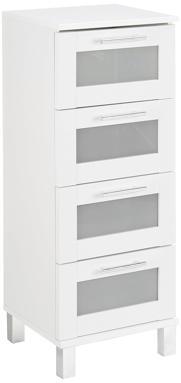 Trendteam 1681–803–01 Meubles - bois - blanc mélamine-Verre satniert - 35 x 33 x 89 cm