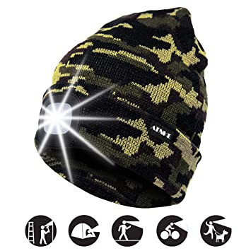 ATNKE Gorra de Goma con luz LED, USB Recargable Running Hat ...