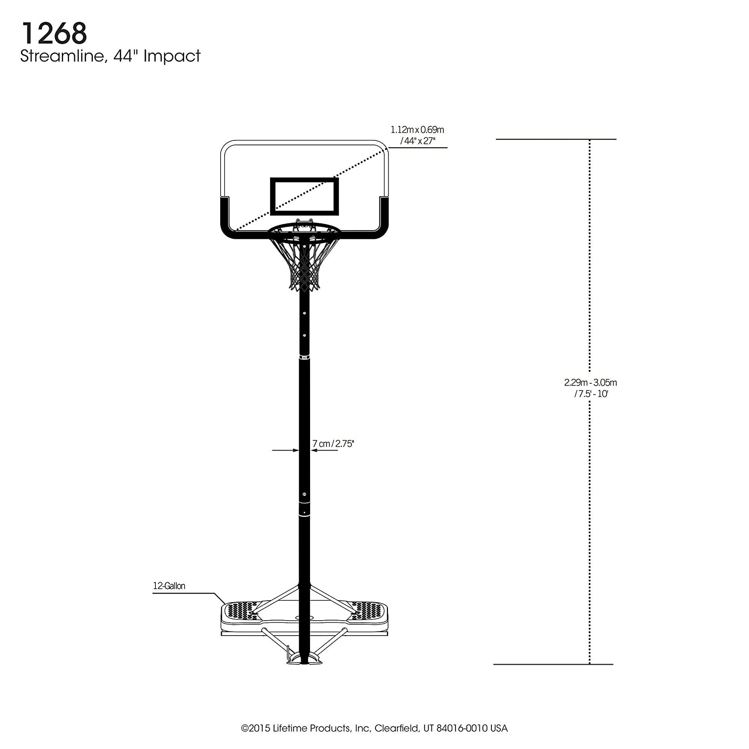 Amazon.com : Lifetime 1268 Streamline Impact Portable Basketball System, 44  Inch Backboard : Portable Basketball Backboards : Sports & Outdoors