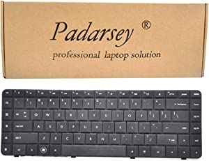 Padarsey Replacement Keyboard with Ribbon Cable Compatible with HP Compaq Presario CQ62 G62 G56 CQ56 Series Compatible with Part Number 595199-001 613386-001 6098 Cq56-100 G56-100 G62-340US US Layout
