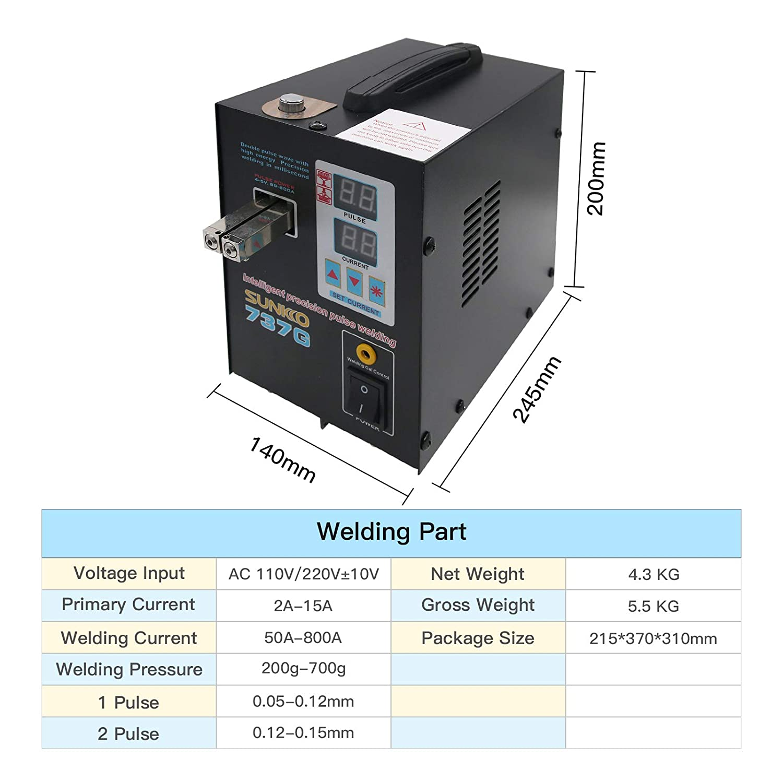 MaxGeek 737G Spot Welder 1.5KW Battery Spot Welding Machine LED Light for 18650 Battery Pack Spot Welder