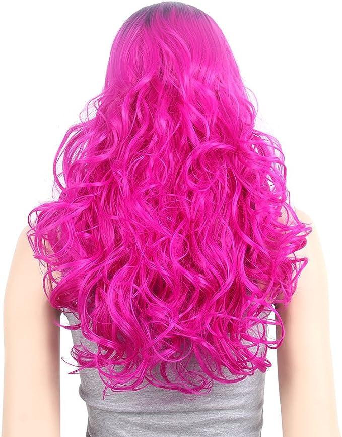 Oscuro raíz Pastel Ombre Magenta peluca largo rizado ondulado ...