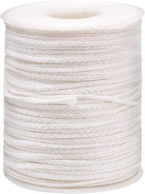 Opopark 2 Roll Cotton Candle Wicks 400 Feet Braided Replacement Wicks for Oil Lamps and Candles DIY Handmade Candle Making Supplies