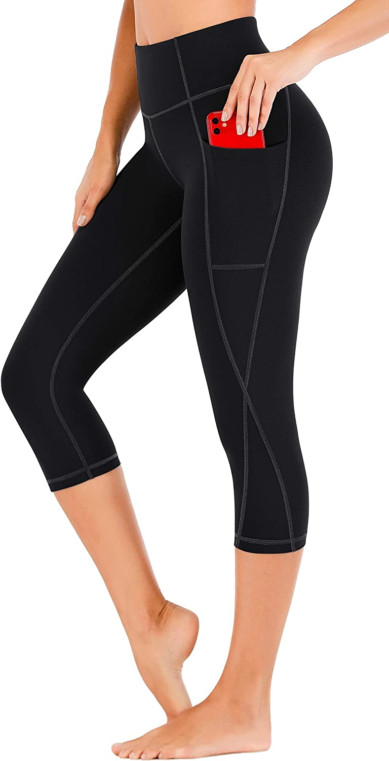 Heathyoga Capri Leggings for Women with Pockets High Waisted Yoga Pants with Pockets Workout Leggings for Women