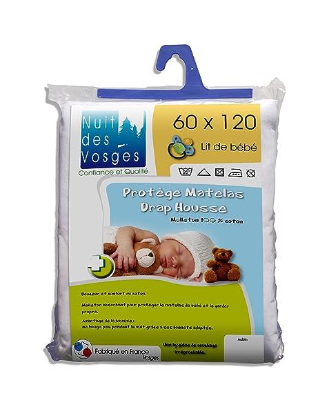 Nuit des Vosges 2035308 Aubin Protector de colchón absorbente de felpa para bebé Algodón blanco 120