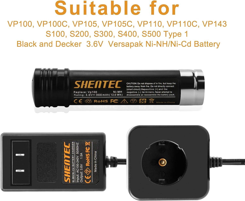 Not for Li-ion Battery Shentec Versapak Charger Compatible with Black /& Decker 3.6V Ni-CD /& Ni-MH Versapak Battery VP110 VP100 VP130