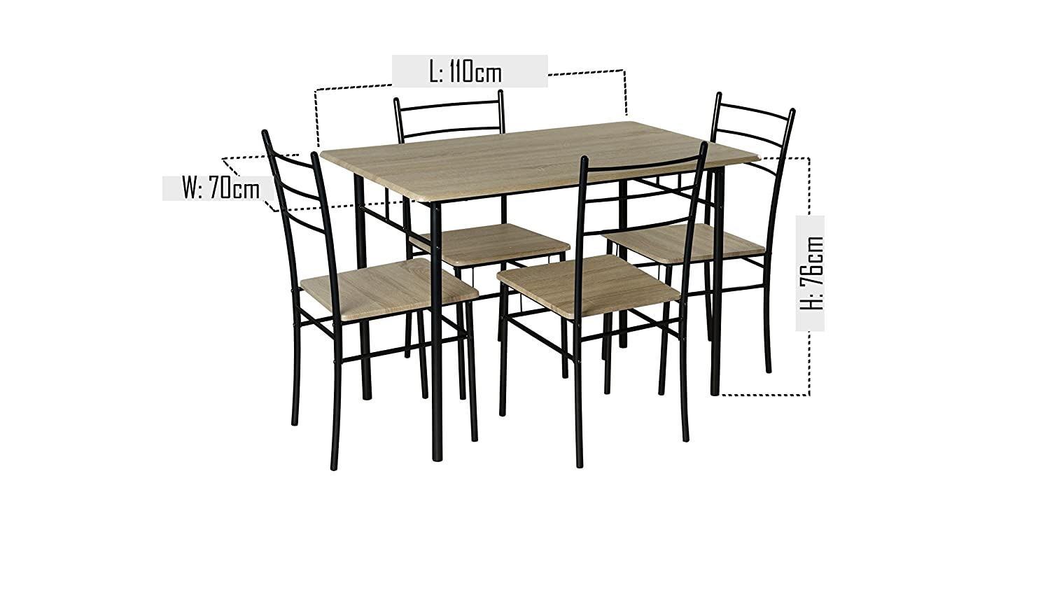 898156bf2839f Cecilia 5 Piece Dinner Table and Chairs Set Quality Modern Dining Christow