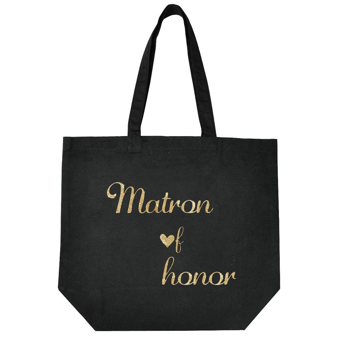 ElegantPark Matron of Honor Tote Wedding Gifts Bridal Shower Bag 100% Cotton Black with Gold Glitter