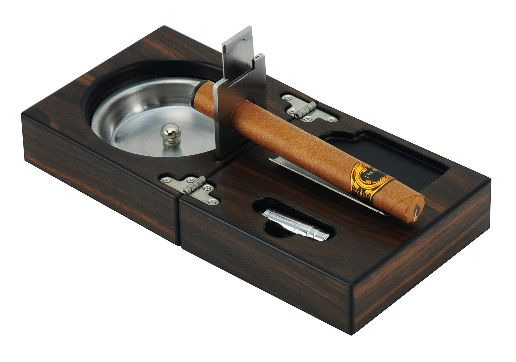 ORBITZ GEAR SIKARX - Extravaganza Collection - The Compact Cigar Ashtray Cigar Cutter Punch (4.75 x 4.75 x 2.8)
