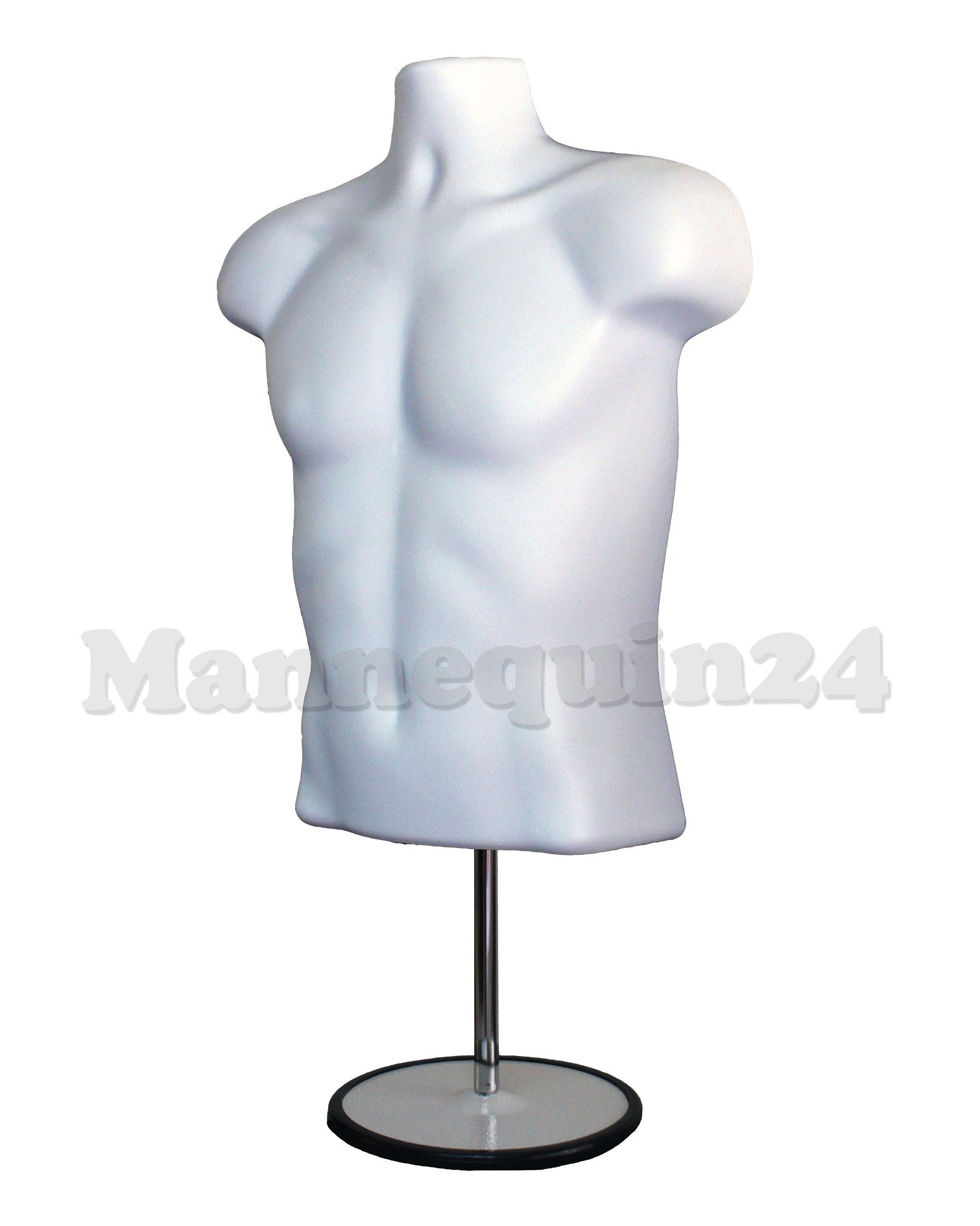 The Competitive Store Torso Male with Metal Base Body Mannequin, White