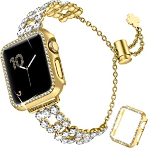 fastgo Bling Band Compatible with Apple Watch 38mm/40mm/42mm/44mm with Case Women, Jewelry Glitter Metal Rhinestone Bracelet Replacement Strap Cover for iWatch SE Series 6/5/4/3/2/1(Gold-38mm)
