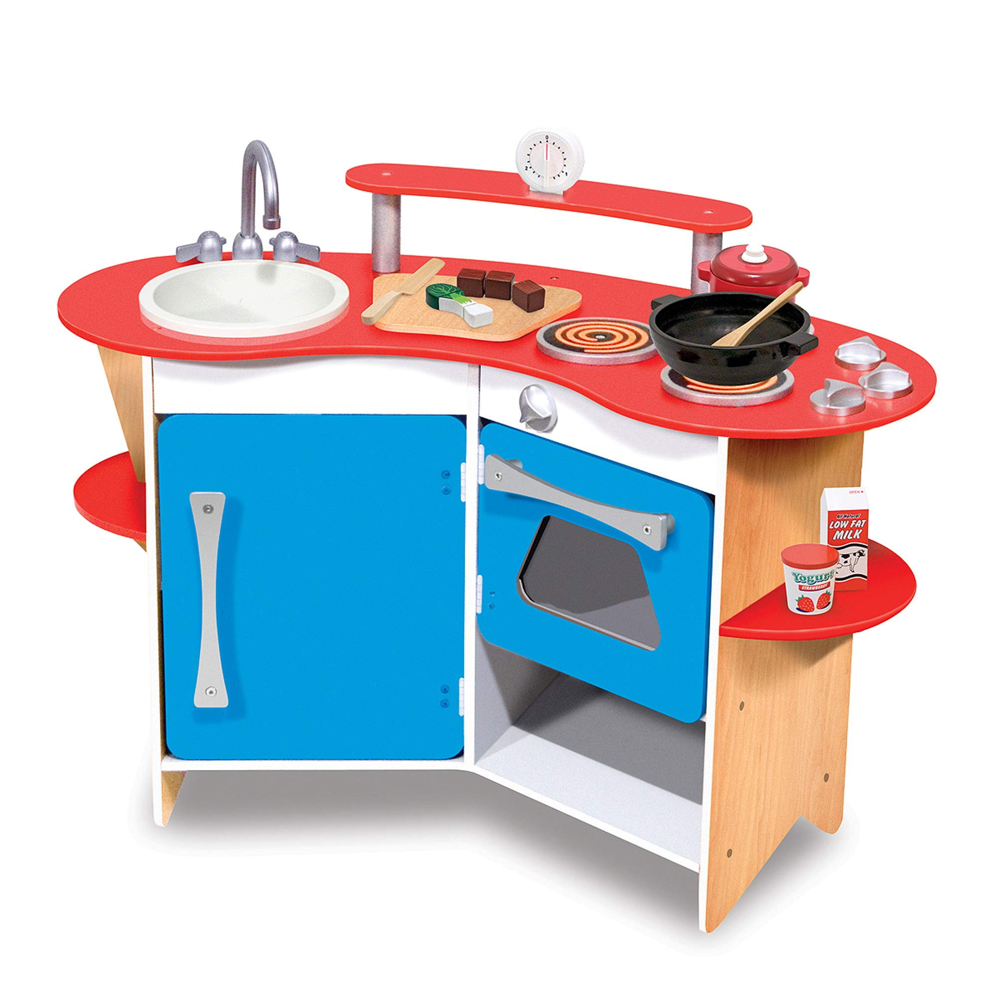 Melissa & Doug Cook's Corner Wooden Pretend Play Toy Kitchen by Melissa & Doug (Image #3)