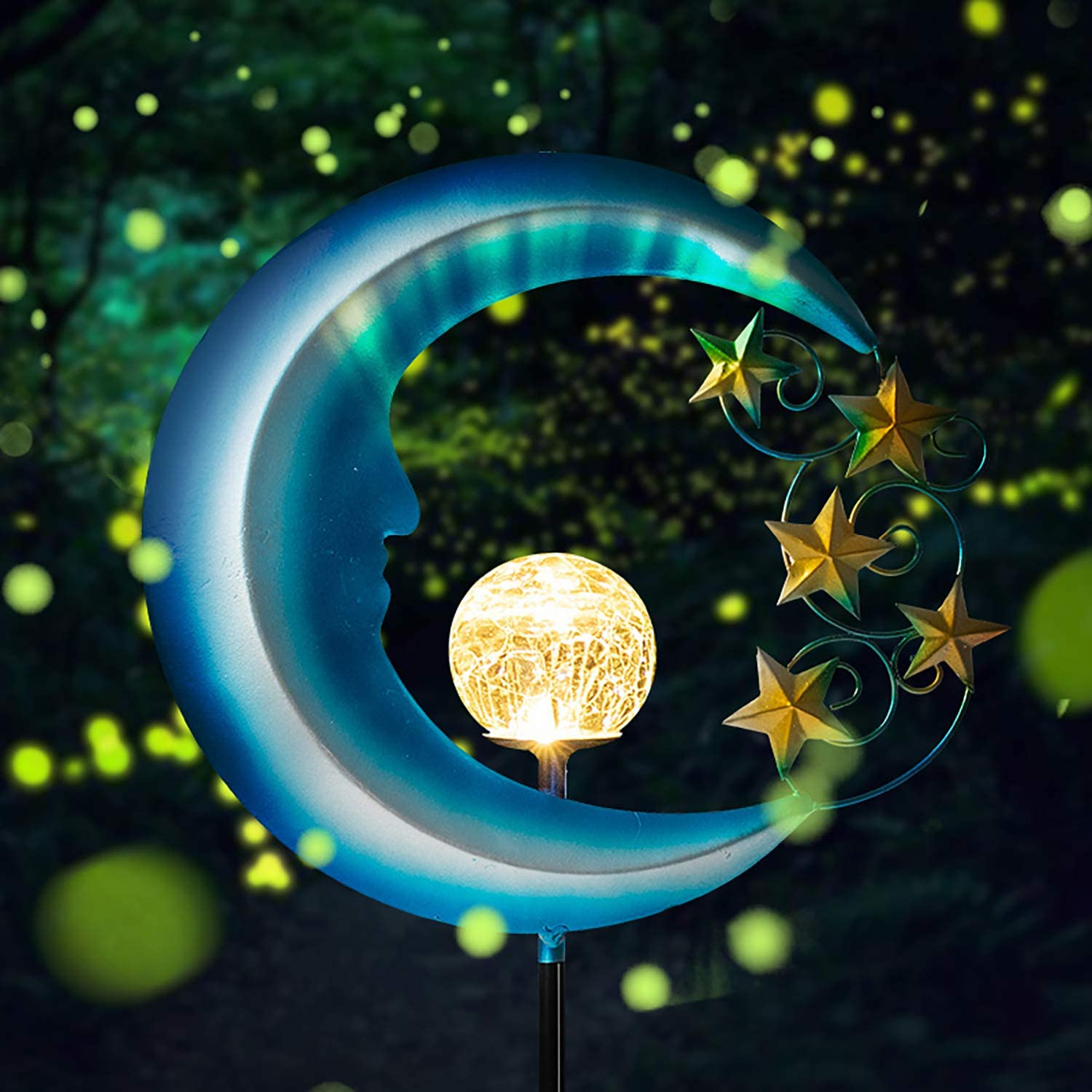 Solar Powered Garden Lights -  Outdoor Decorative Moon Light - Metal Waterproof Solar Garden Light for Pathway, Lawn, Patio, Yard
