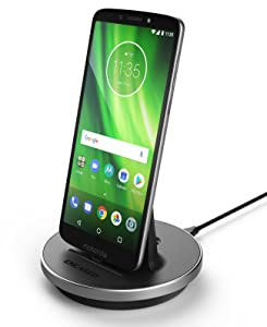 Encased Moto G6 / Moto G7 Charger, Quick Charge Stand for Motorola USB C Phones - Type C Power Cable Works with TurboPower Adapter (Moto G7 Play, G7 Power) (case-Friendly Dock Design)