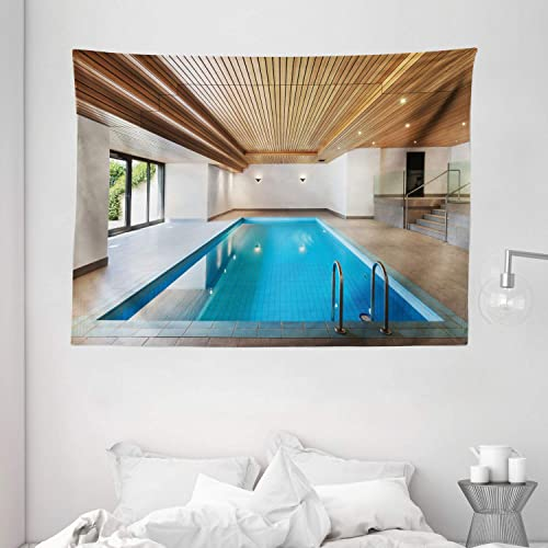 Ambesonne Holiday Tapestry, Apartment with Pool Wooden Ceiling Private Resident Home Perspective Print, Wide Wall Hanging for Bedroom Living Room Dorm, 80 X 60 , Blue Sand Brown