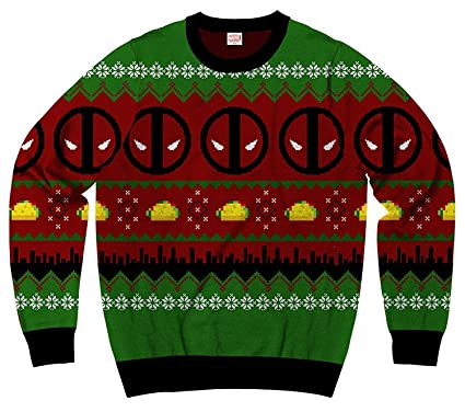 Ugly Sweater Christmas.Marvel Deadpool Navidad Ugly Sweater Christmas Mens Sweatshirt By Mad Engine