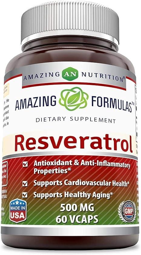 Amazing Formulas Resveratrol 500 Mg 60 Veggie Capsules
