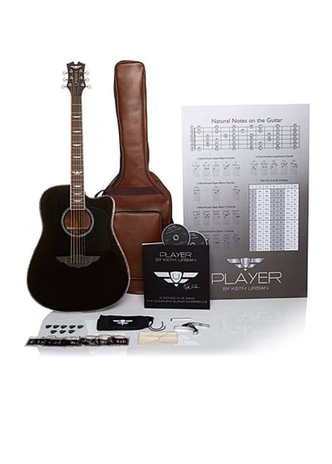Keith Urban 50-piece 'PLAYER' Acoustic Guitar and 30-Lesson Package - Rich Black The Urban Guitar Collection