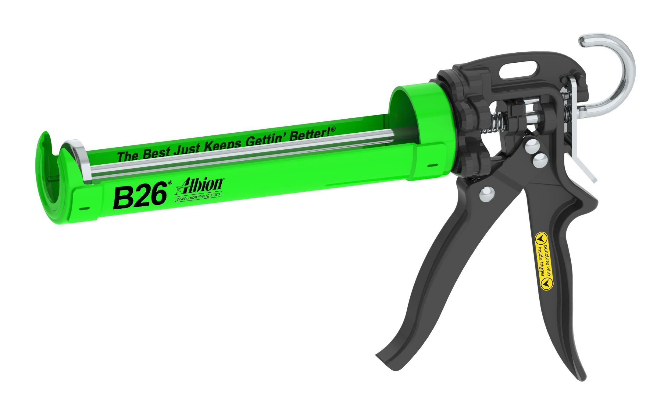 Albion Engineering B26 B-Line Manual Cartridge Caulking Gun, 1/10 Gallon (10 oz), 26:1 Drive
