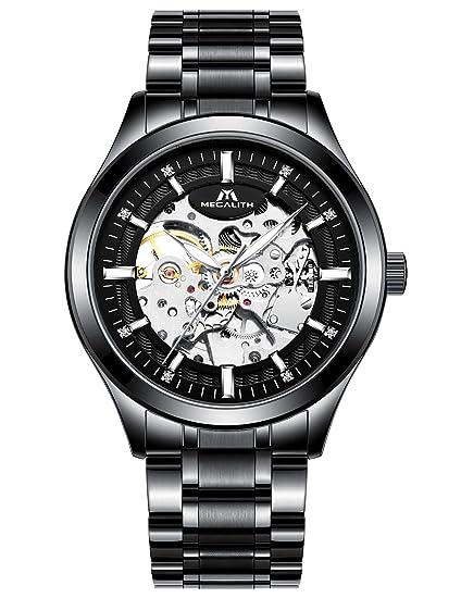 Relojes Hombre Reloj Mecánico Automático Deportes Impermeable Oro Esqueleto Lujo Diseño Relojes de Pulsera de Acero Inoxidable Negro Luminosos ...