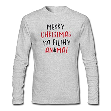 09fb852ee83 Amazon.com  SYBING Men s Merry Christmas Ya Filthy Animal T-Shirt ...