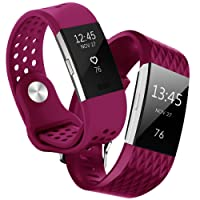 Hanlesi Fitbit Charge 2 Bracelet, Charge 2 Bracelets Réglables Remplacement Sport Accessoire Fitbit Charge 2 Petit Grand, 10 Couleurs