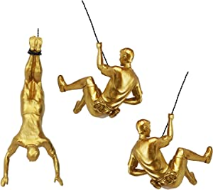 Ibnotuiy Men Climbing Wall Sculpture 3Pcs/Set Resin Art Wall Sculptures Home Decor Vintage Gold Statue Figure Kit for Living Room/Bedroom/Office/Garden