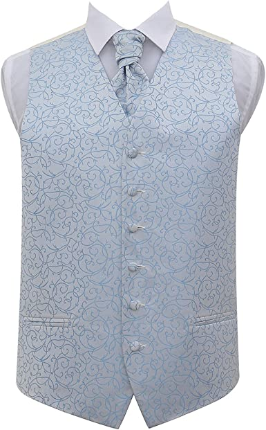 DQT Greek Key Patterned Ivory Mens Wedding Waistcoat /& Cravat
