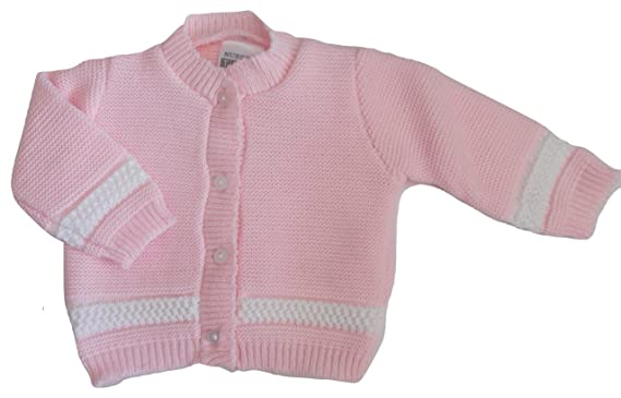 f1494e3bba3a Baby Infant Girls Summer Knitted Cardigan Pink with White (Newborn ...