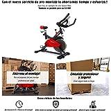 Sportstech Bicicleta estática para Interior SX100 con Volante de inercia 13kg, reposabrazos Acolchados, Asiento cómodo, pulsometro, Sistema de transmisión por Correa y silencioso