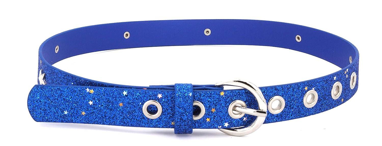 color azul ni/ños de 5 a 10 a/ños, contorno de cadera de 57-72 cm, cintur/ón de 65 cm, con remaches de estrella y agujeros EANAGO Cintur/ón con purpurina para ni/ña