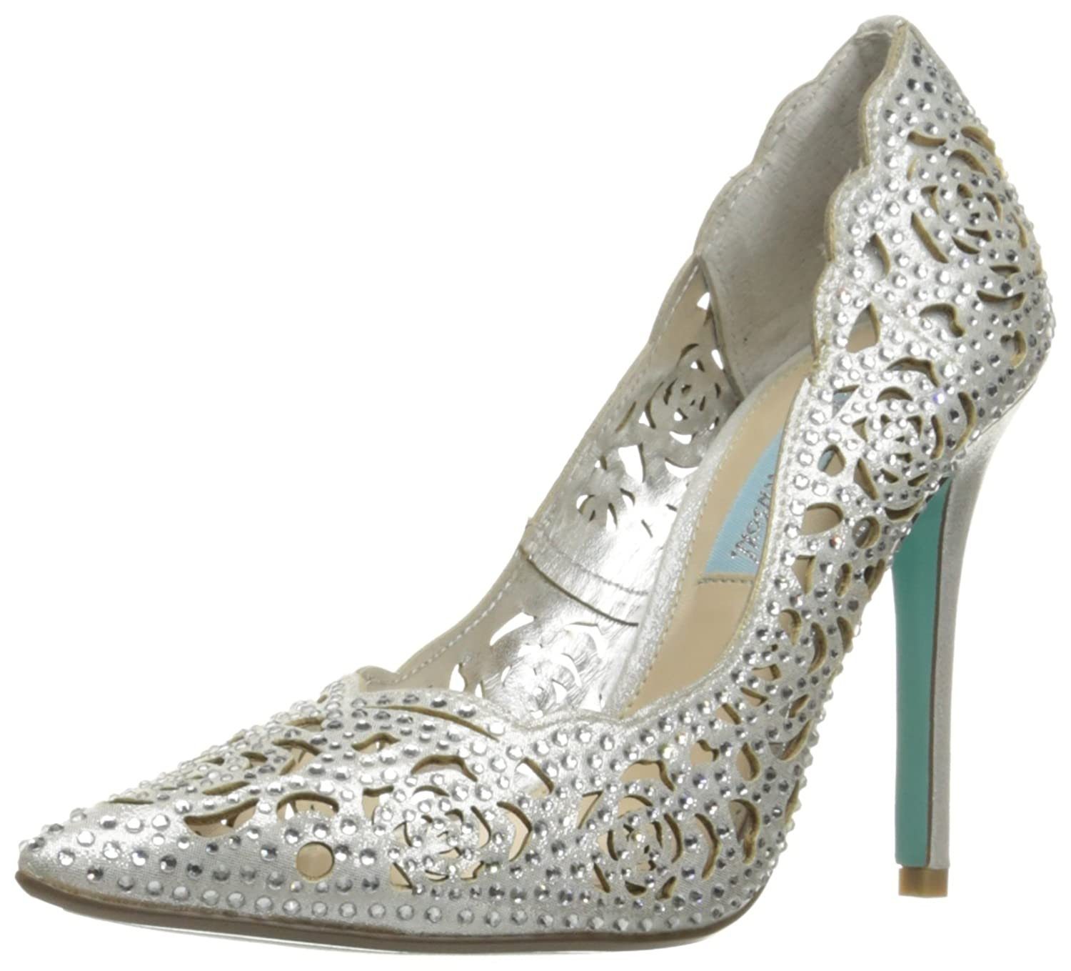 Blue by Betsey Johnson Women's Sb-Elsa Dress Pump B011PM8YWC 12 B(M) US|Silver Fabric
