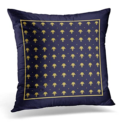 Amazon VANMI Throw Pillow Cover Vintage Elegant Navy Blue And Custom Navy Blue And Gold Decorative Pillows