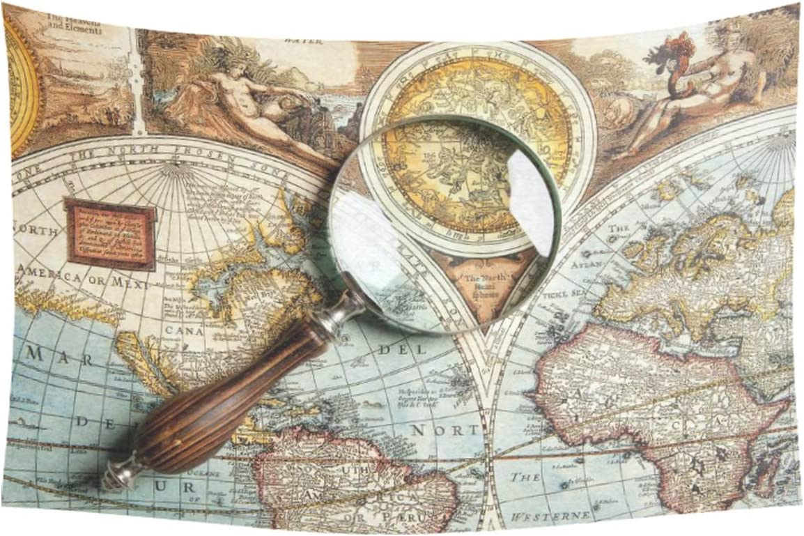 INTERESTPRINT Vintage World Map Home Decor Wall Art, Magnifying Glass and Ancient Old Map Tapestry Wall Hanging Art Sets 60 X 40 Inches