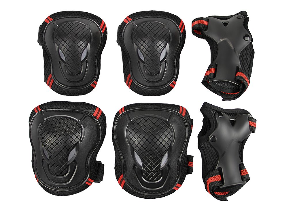 Kids Girls Boys Knee Elbow Wrist Braces Pads Set Reflective Adjustable Collision Avoidance Skate Roller Blading Skateboarding Biking Knee Braces Support Elbow Pads Wrist Guards Protector Kneepad