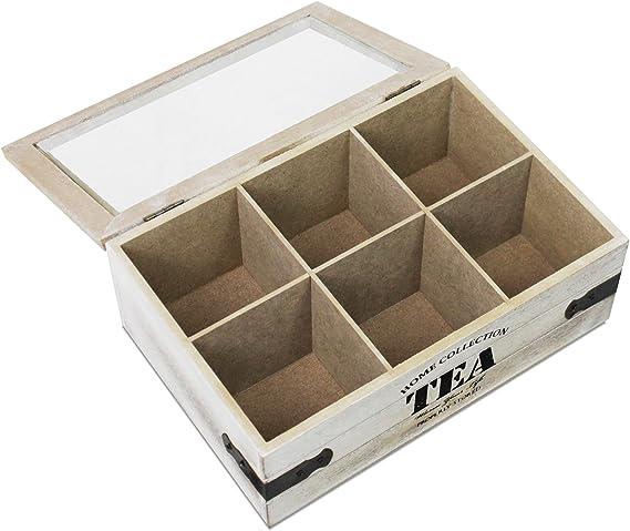 The A - Caja para té (6 compartimentos, madera MDF): Amazon.es: Bricolaje y herramientas