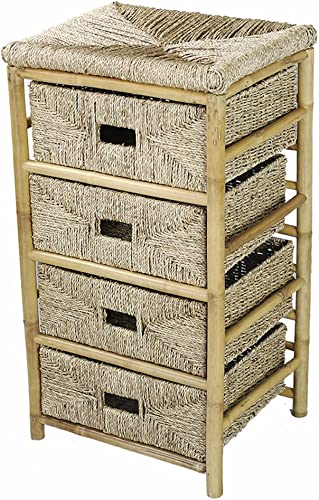 Heather Ann Creations 4-Drawer Bamboo Open Frame Cabinet