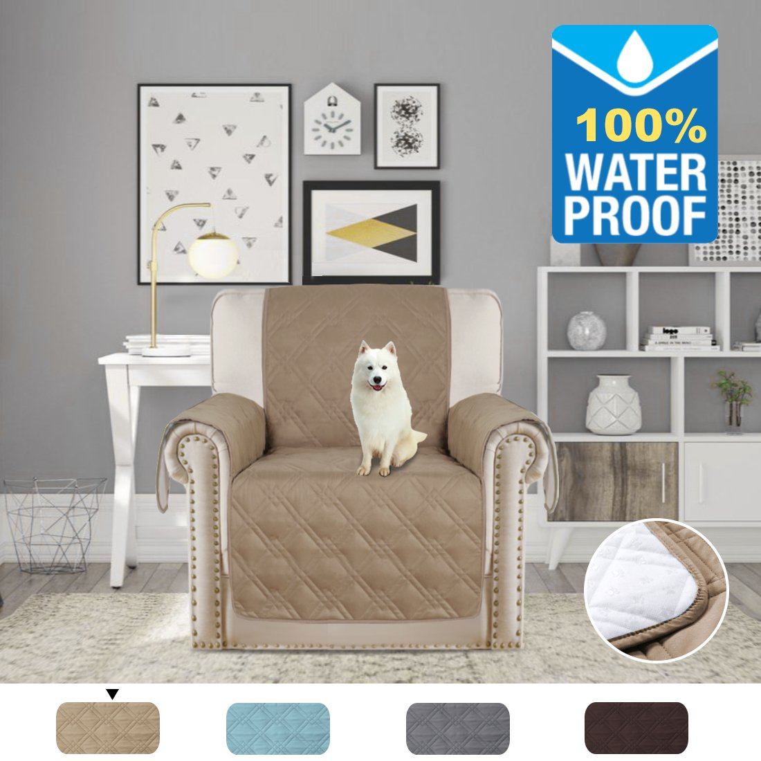 H.VERSAILTEX Non-slip Furniture Cover Perfect 100% Waterproof Sofa Protector for Pets Stay in Place (Recliner: Taupe) - 79 inch x 68 inch by H.VERSAILTEX