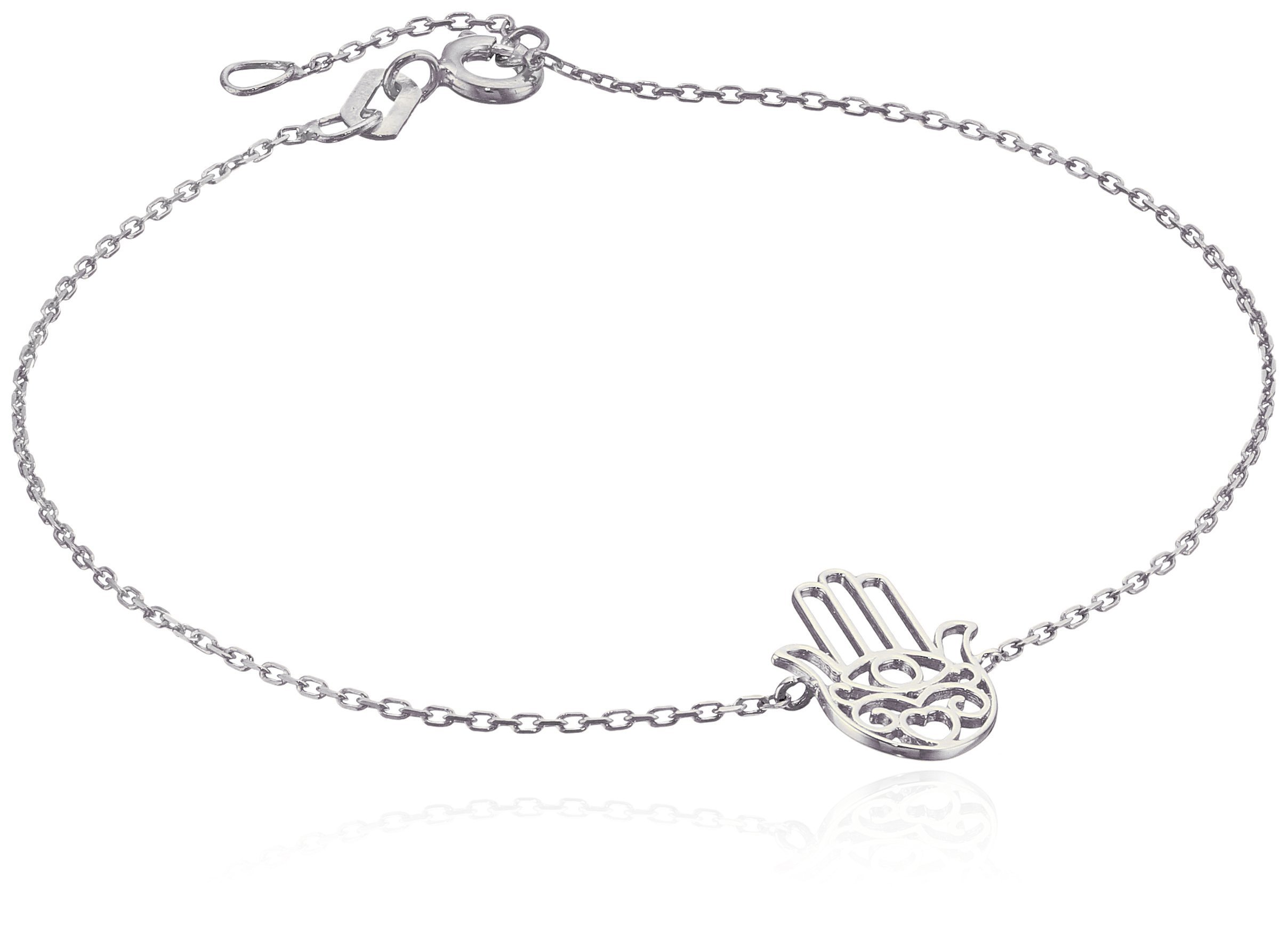 14k Italian White Gold Hamsa Adjustable Link Bracelet, 7-7.5''