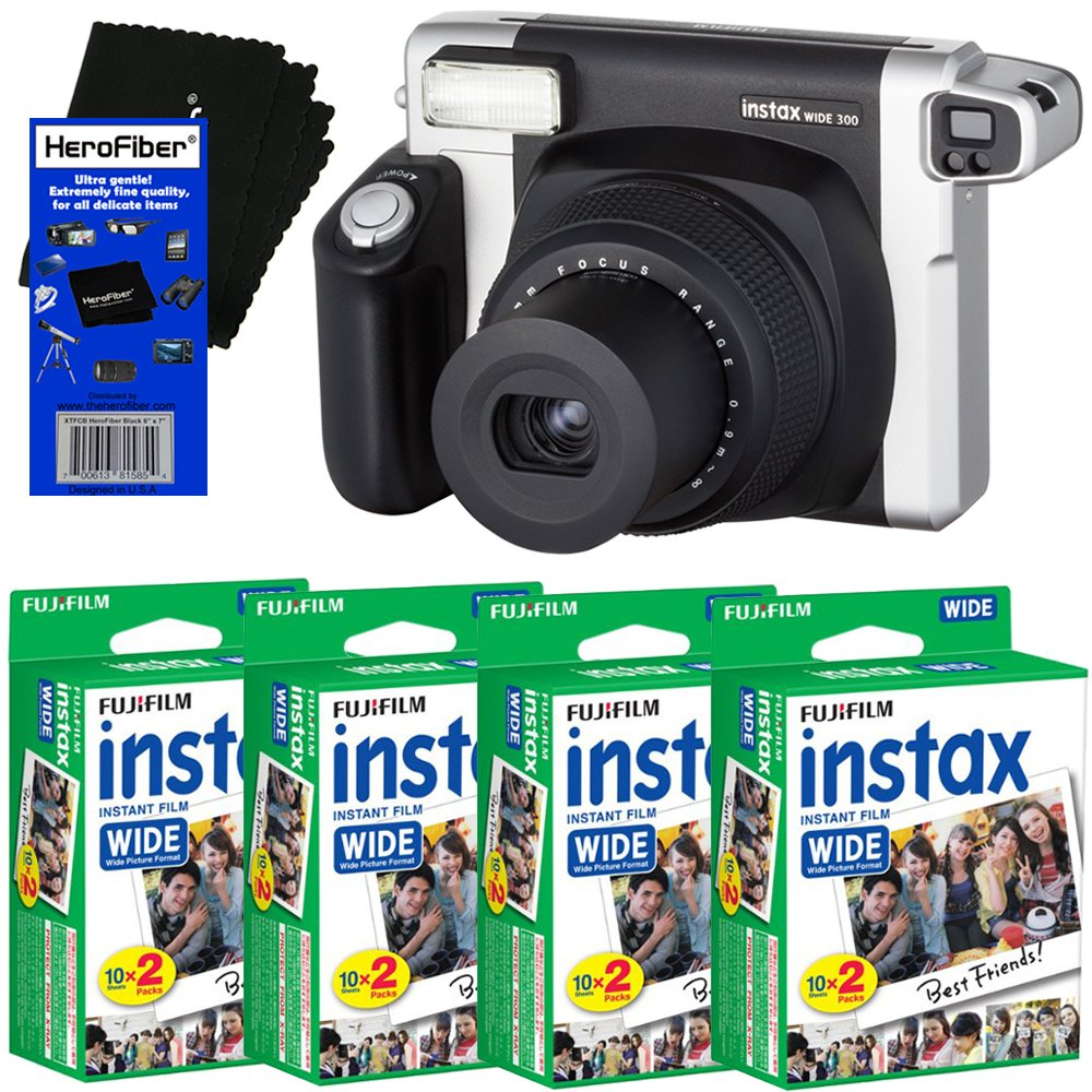 Fujifilm INSTAX 300 Wide-Format Instant Photo Film Camera (Black/Silver) + Fujifilm instax Wide Instant Film (80 Sheets) + HeroFiber Ultra Gentle Cleaning Cloth by HeroFiber