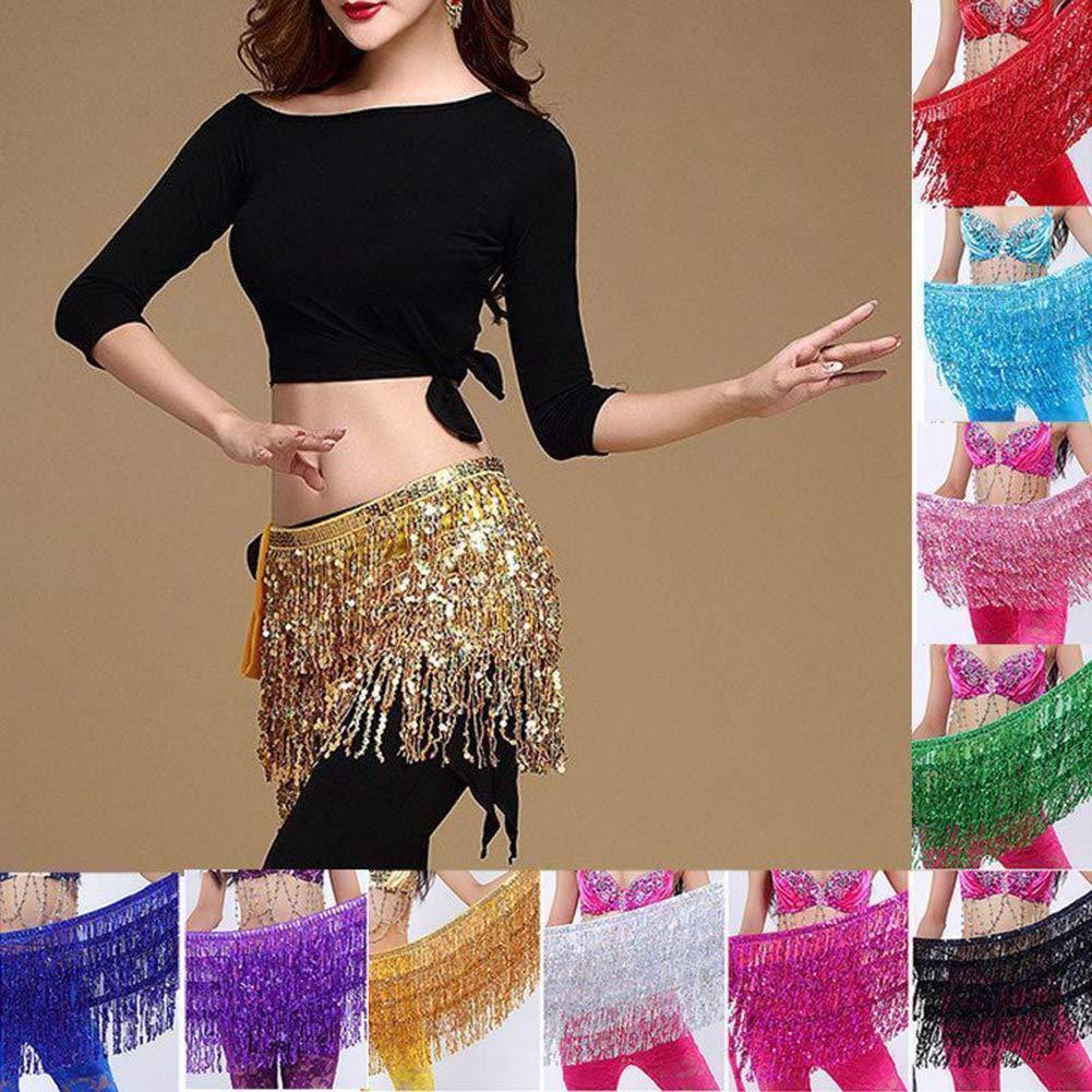 Cadera cintur/ón Flecos Bufanda de Cadera para Danza del Vientre con Lentejuelas Falda de Cintura para Mujer Colectsound