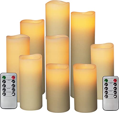 Battery Operated Flameless LED Pillar Candles with Remote Timer Flickering Slim Real Wax Unscented Electric Candle Light Set Bulk for Valentine s Day Mother s Day Home Wedding Party Decoration 9 Pack