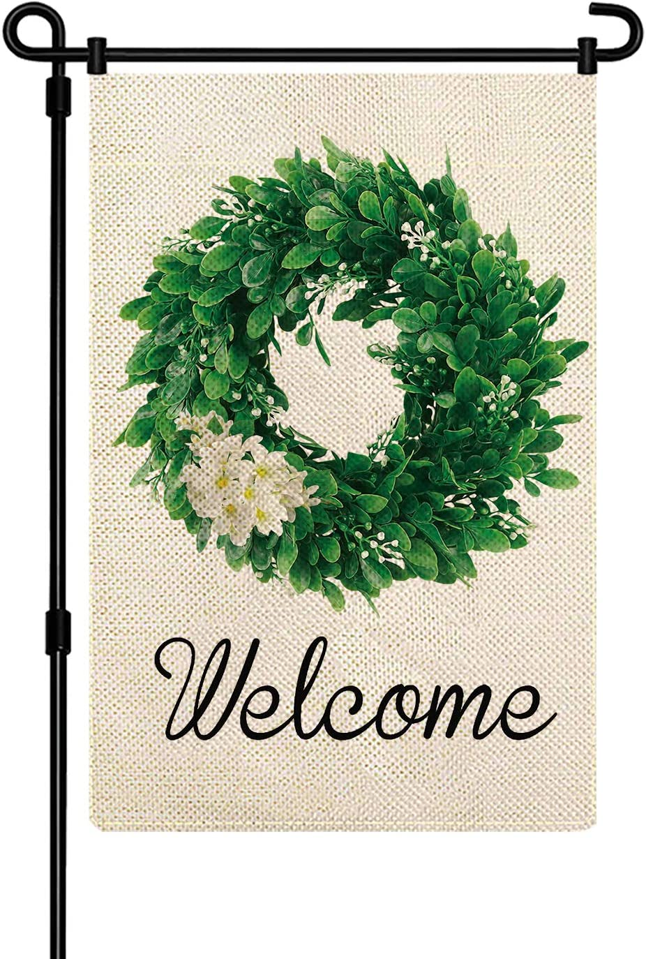 MENORCA Welcome WreathDouble Sided Garden Flag Set Outdoor 12x18 for All Seasons Home Lawn Decorations. BurlapWelcome Yard Flag for Outside, Welcome Yard Flags Set for Every Season