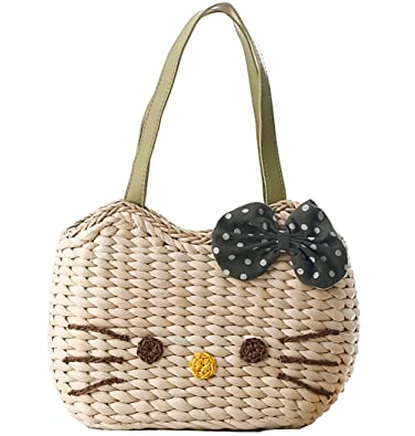 Amazon.com: yournelo Girl s Manmade paja Weave Hello Kitty ...