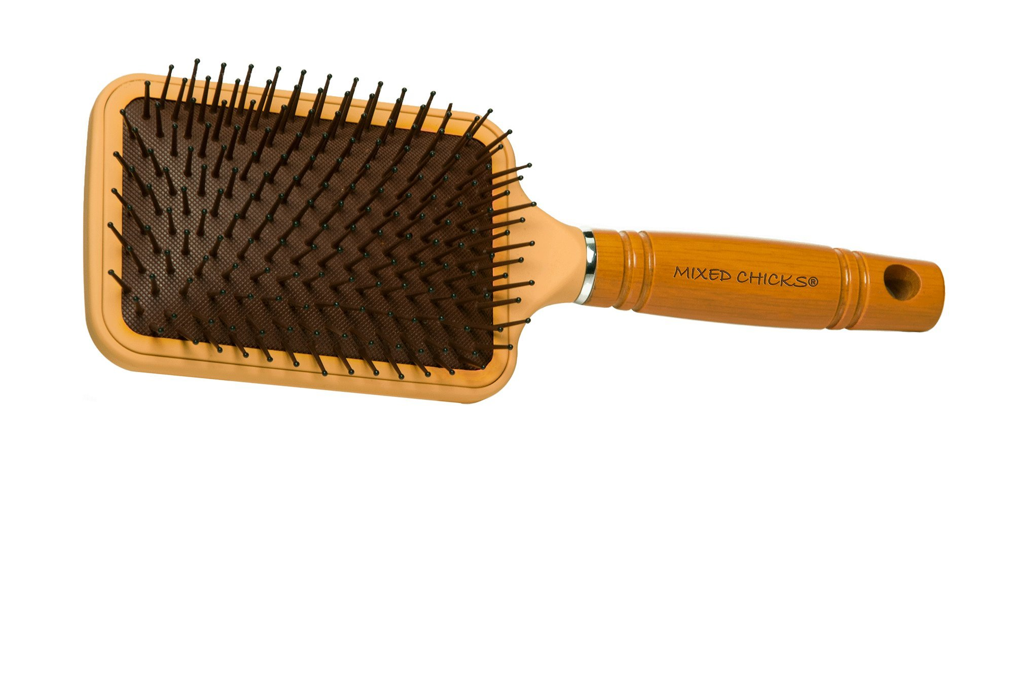 Mixed Chicks Paddle Brush with Hardened Plastic and Wood Handle