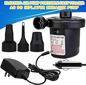WIDEPLORE Quick-Fill AC Electric Air Pump with 3 Nozzles, Deflates and Inflates 110V AC/12V DC, Air Flow 450L/Min,Including Car Power Adapter & Home Power Adapter,Black